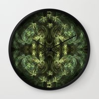 green pattern Wall Clocks featuring Green pattern by Armine Nersisian