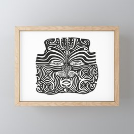Maori Moko | Tribal Tattoo | New Zealand | Black and White | Framed Mini Art Print