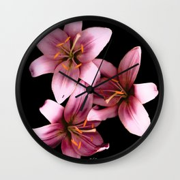 Pretty Pink Ant Lilies, Flowers Scanography Wall Clock