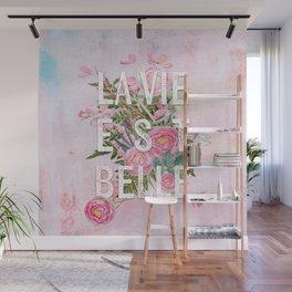 LAVIE EST BELLE - Watercolor - Pink Flowers Roses - Rose Flower Wall Mural