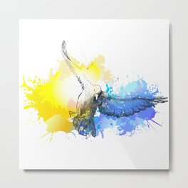 Doves birds flying colorful watercolor painting Metal Print