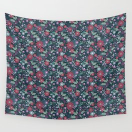 Midnight Autumn Blooms Wall Tapestry