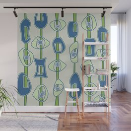 Mod Blobs in blue and greens Wall Mural