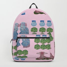 Pink Topiary Topiaries Pink Staffordshire Dogs  Backpack