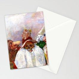 Masks Mocking Death portrait painting by James Ensor Stationery Cards