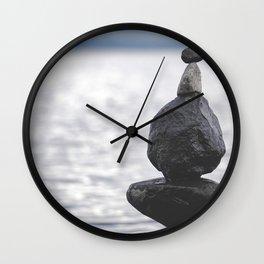Rocks over Yellowstone Lake Wall Clock