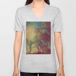 Tree Silhouette, Autumn Sunset Unisex V-Neck