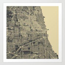 Chicago map #2 Art Print