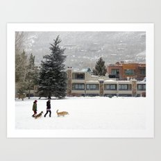 Snow Dogs I Art Print