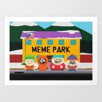 meme Art Prints featuring Meme Park by Milan Harangozó