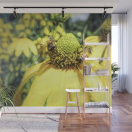Bees on Yellow Flower Wall Mural