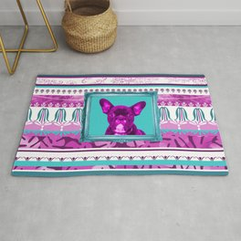 French pink Bulldog Illustration with in turquoise frame Rug