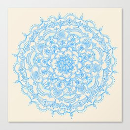 Pale Blue Pencil Pattern - hand drawn lace mandala Canvas Print