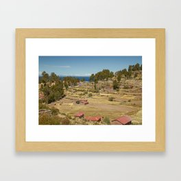 Houses of Local Peruvian People Living on Taquile Island, Peru Framed Art Print
