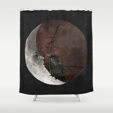 The crow and its moon. Shower Curtain