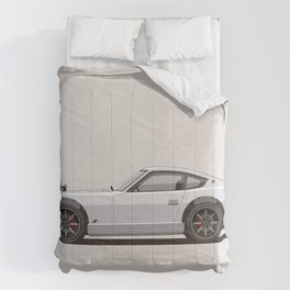 Legendary Classic White 240z Fairlady Vintage Retro Cool German Car Wall Art and T-Shirts Comforters