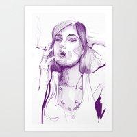 sasha grey Art Prints featuring Sasha Grey Portrait by Mattew Draw