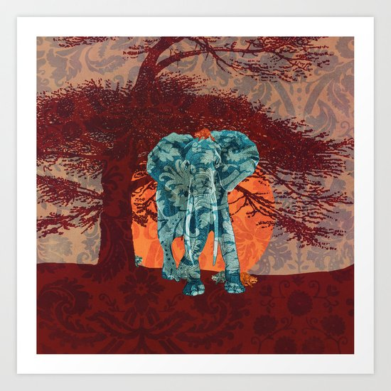 Indian summer with raccoons Art Print