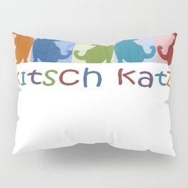 Kitsch Cats Silhouette Cat Collage On Pastel Background  Pillow Sham