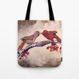Kissing Cardinals Tote Bag