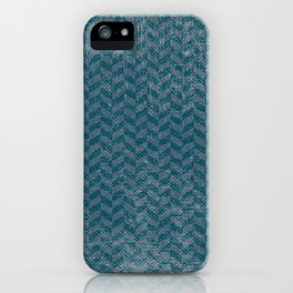 Vintage blue gray abstract geometric chevron pattern iPhone Case