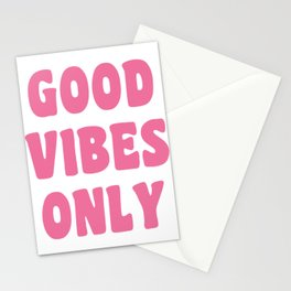 Good Vibes Only in Pink Retro Lettering Stationery Cards