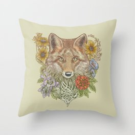 Fox Garden Throw Pillow