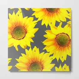 Large Sunflowers On Dark Grey Background #decor #society6 #buyart Metal Print