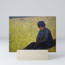 Boy Sitting in a Meadow Mini Art Print