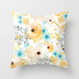 Blue and Yellow Floral Throw Pillow