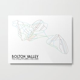 Bolton Valley, VT - Minimalist Trail Maps Metal Print