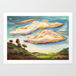 Color clouds in the valey Art Print