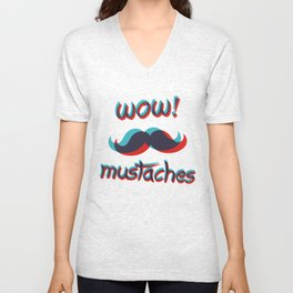 WOW mustaches Unisex V-Neck