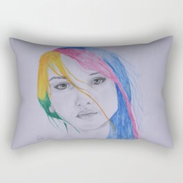 The girl with rainbow hair Rectangular Pillow