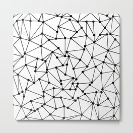 Ab Out Lines With Spots White Metal Print