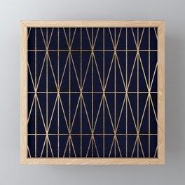 Modern gold geometric triangles pattern navy blue watercolor Framed Mini Art Print