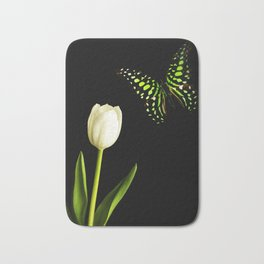 Beautiful butterfly and white tulip flower Bath Mat