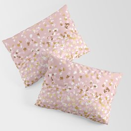 Floating Confetti - Pink Blush and Gold Pillow Sham