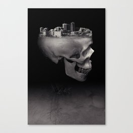 Urban Skull Horror Black and White City Canvas Print