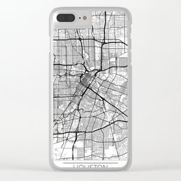 Houston Map White Clear iPhone Case