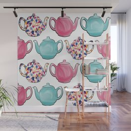Colourful Teapots Wall Mural