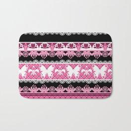 Black and pink striped pattern . Bath Mat