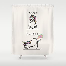 Inhale Exhale Unicorn Shower Curtain