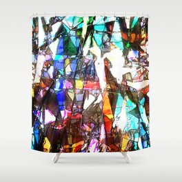 Light Streaming Through Stained Glass Shower Curtain