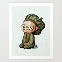 A Thoughtful Turban squash Art Print