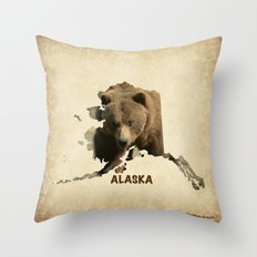 Alaskan Grizzly Map Throw Pillow