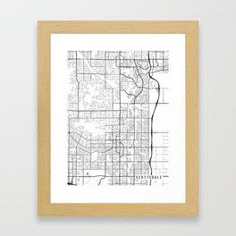 Scottsdale Map, Arizona USA - Black & White Portrait Framed Art Print