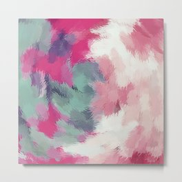 red pink and green painting texture abstract background Metal Print