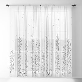 Spores Forest Doodle Art Sheer Curtain