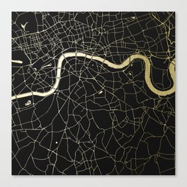 London Black on Gold Street Map Canvas Print